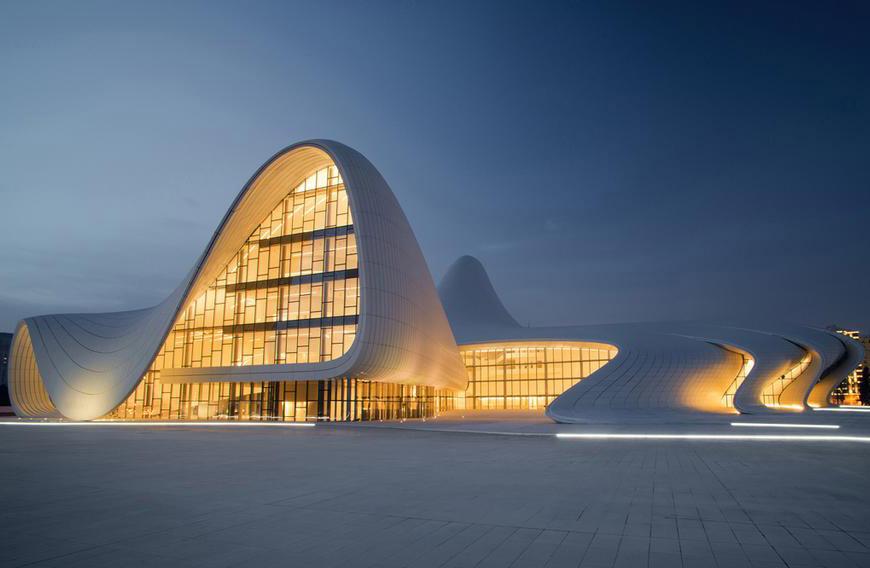 Heydar AliyevCenter - نورپردازی معماری زاها حدید