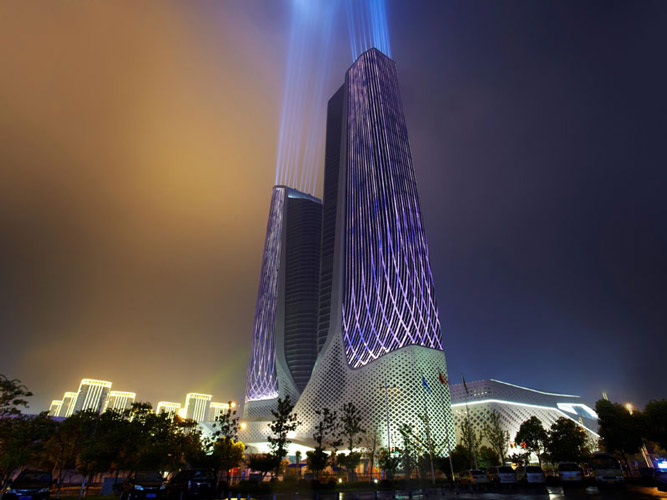 Nanjing  Youth  International  Cultural  Center - نورپردازی معماری زاها حدید