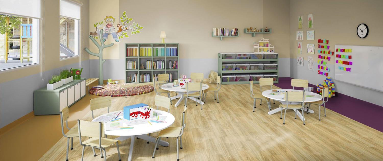 رنگ بژ در دکوراسیون داخلی کلاس کودک