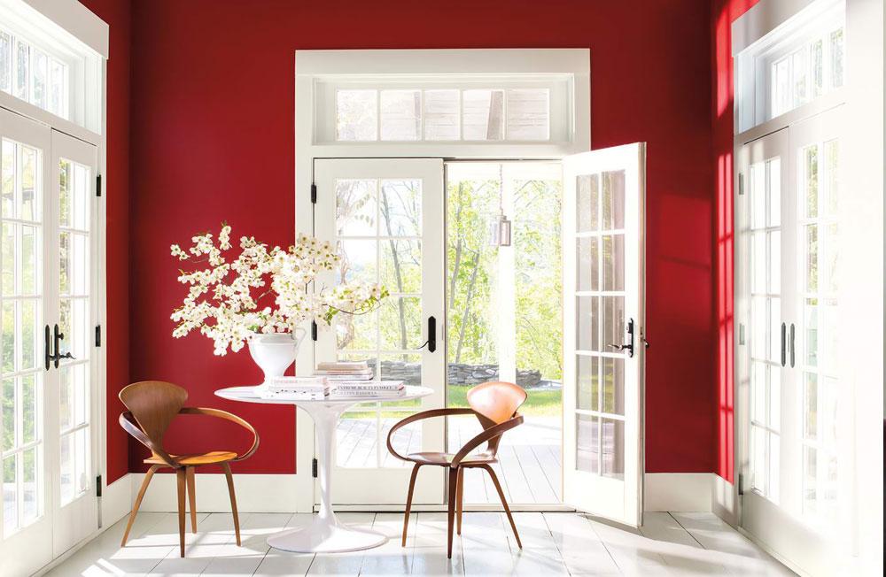 قرمز در دکوراسیون داخلی و پنجره ها
