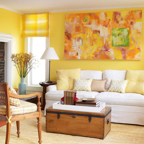 اتاق نشیمن زرد در طراحی داخلی