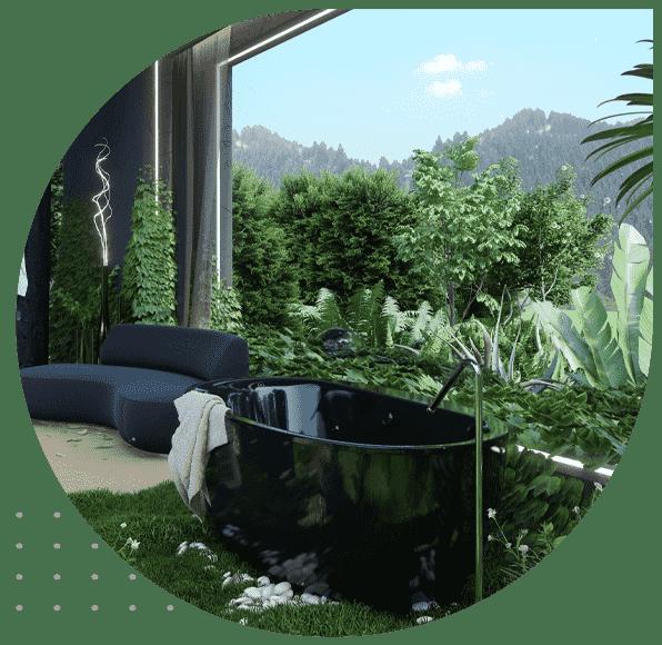 ایده استفاده از گیاهان در حمام
