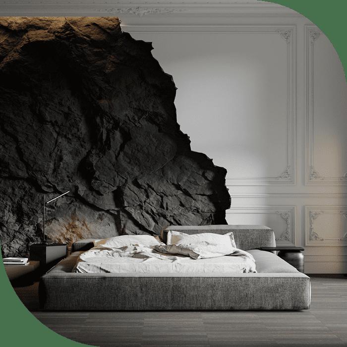 اتاق خواب با طراحی سیاه و سفید