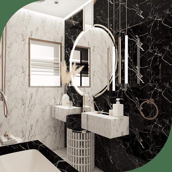 سرویس و حمام سیاه و سفید در طراحی داخلی