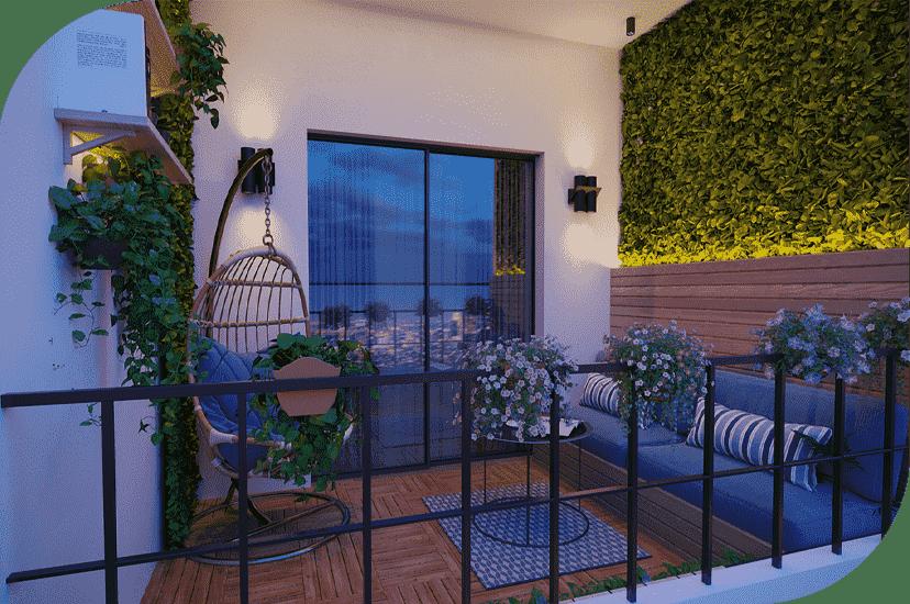 دکور با گل و گیاه در بالکن