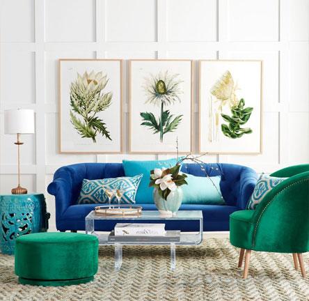ترکیب رنگ های آبی و سبز در دکوراسیون