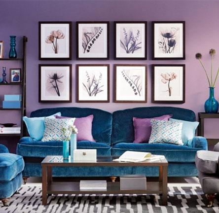 ترکیب رنگ های آبی و بنفش در دکور