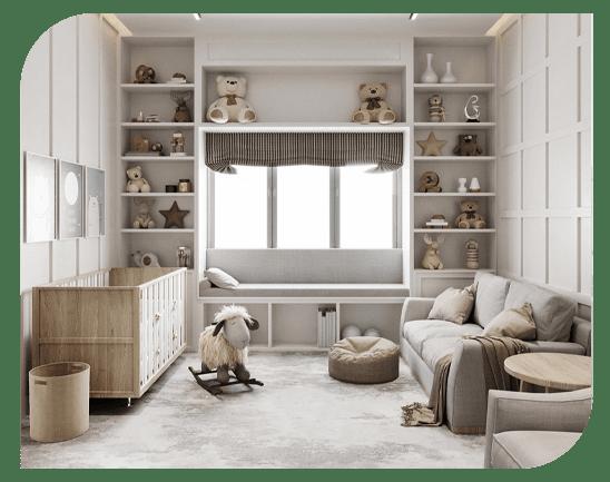 کاربرد تقارن کامل در طراحی اتاق نوزاد