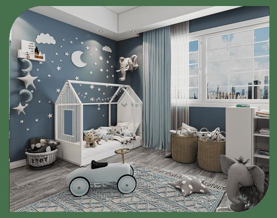 طراحی مدرن برای اتاق کودکان متولد شده