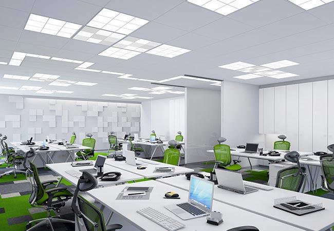 tile modern office lighting - راهنمای کامل نورپردازی داخلی