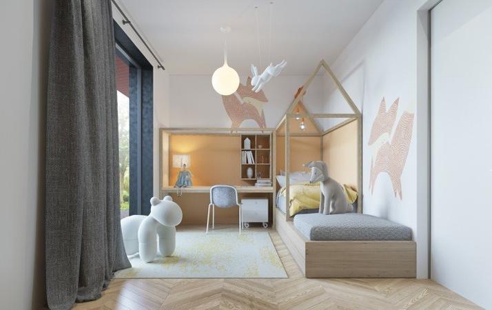 yellow blue room 5 - طراحی اتاق خواب کودک شیک