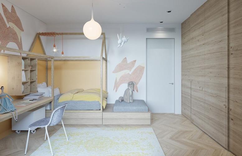 yellow blue room 8 - طراحی اتاق خواب کودک شیک