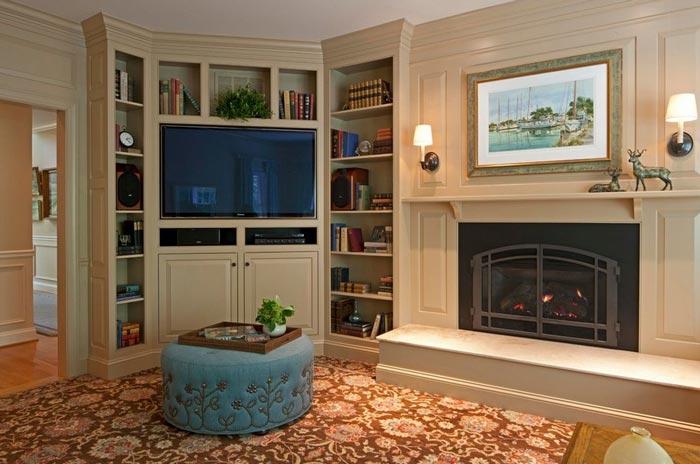 corner tv interior - ایدهها و نکاتی دربارهی محل قرار گیری و دکور تلویزیون