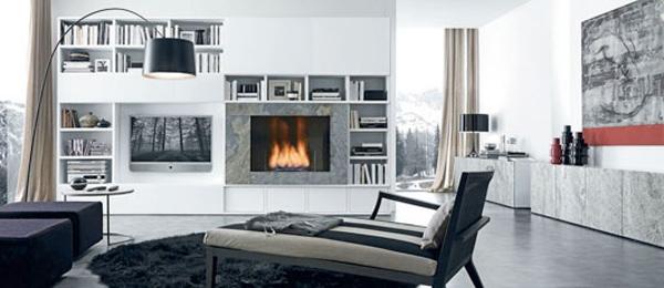 living room  fireplace tv - ایدهها و نکاتی دربارهی محل قرار گیری و دکور تلویزیون