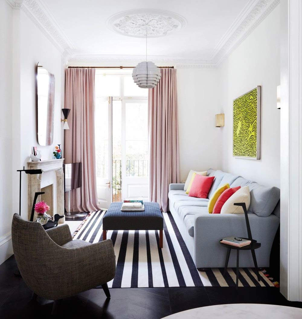 narrow living room decoration - آیا چیدمان مبل را درست انجام می دهید؟