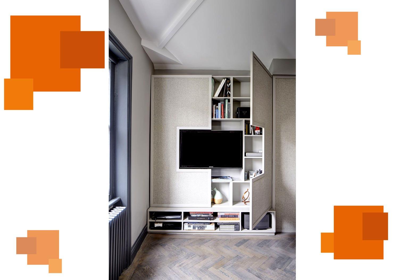 tarahi fgafase t3 1 - ۱۲ ایده هوشمندانه برای طراحی قفسه در پذیرایی