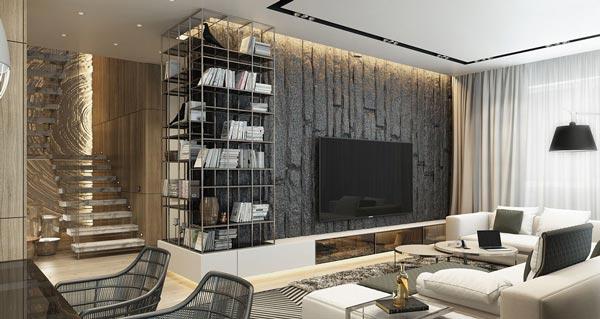 Living Room Wall Textures Ideas 2 - چطور از بافت در طراحی داخلی استفاده کنید