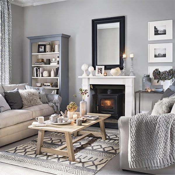 Pretty living room grey - چطور از بافت در طراحی داخلی استفاده کنید