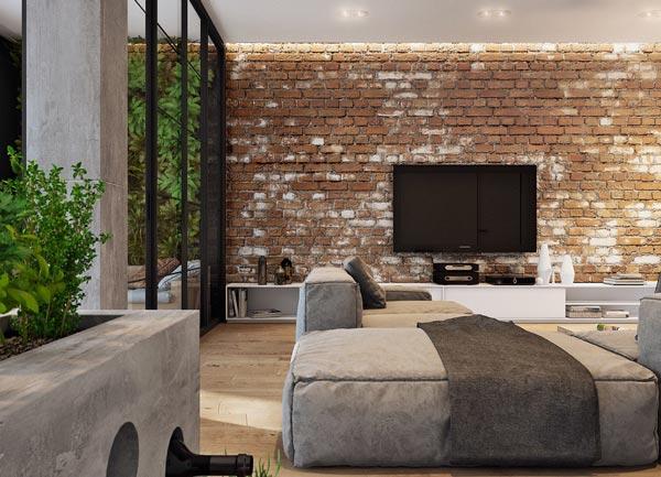 brick wall interior design interior design - چطور از بافت در طراحی داخلی استفاده کنید