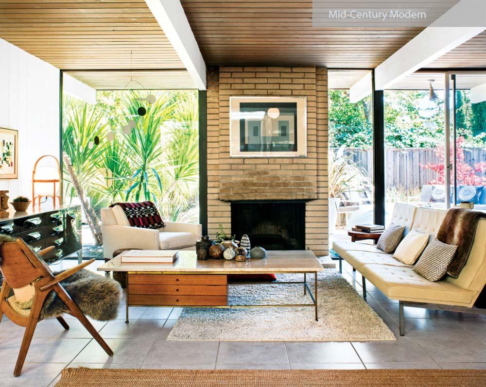mid century modern home interio - ۲۷ سبک طراحی داخلی در سال ۲۰۱۹